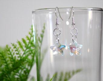 handmade iridescent glass star earrings