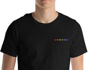 Minimalistic Rainbow Hearts Embroidered Shirt Subtle Pride