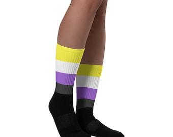 Non-binary Flag Socks / ENBY Pride Socks / LGBTQ Accesories / LGBT Socks