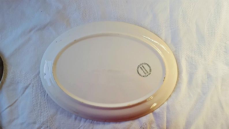 VINTAGE Pink and Black Stetson China Large Oval Platter