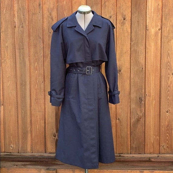 Vintage Navy Blue Trench Coat