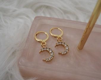 Gold plated huggie hoop earrings moon charm cubic zirconia
