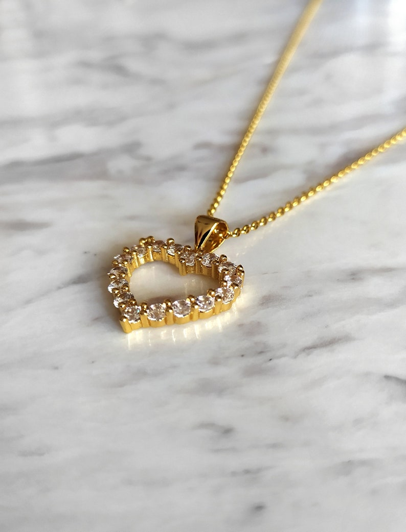 Gold heart necklace  Open rhinestone heart necklace  heart jewelry  Gift for Her