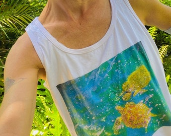 Sea turtle t-shirt, ladies' cut: Gentle Honu by WordWorthyPhotos