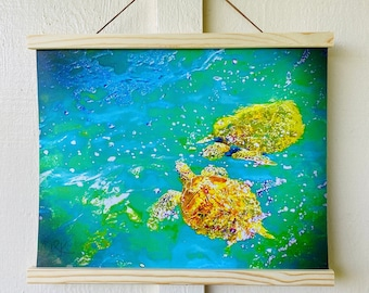"""Animal photography print: canvas scroll wall hanging, """"Gentle Honu"""" BEST SELLER"""