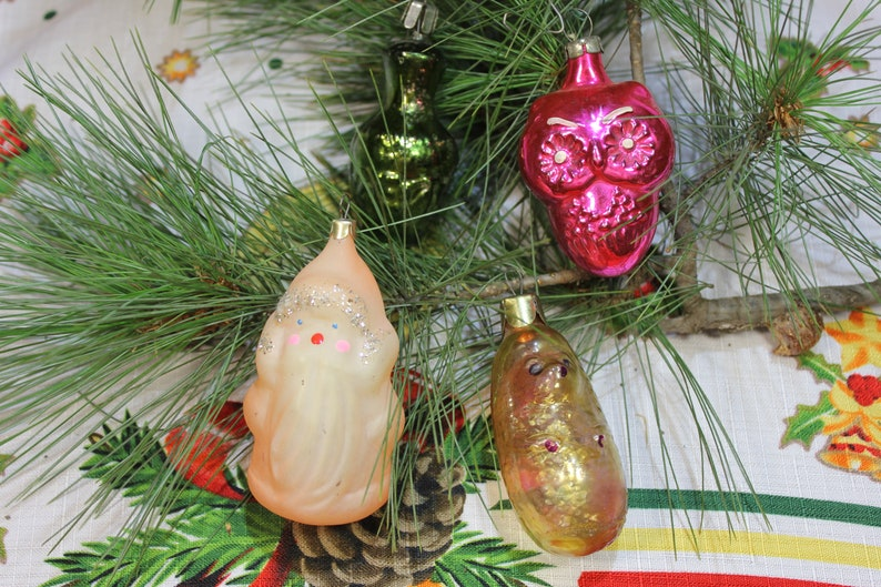 Christmas toy,New Year toy New Year  ornaments USSR lot of 4  Glass Christmas ornaments vintage USSR Retro glass ornaments New Year