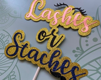 Gender Reveal Cake Topper, Baby Shower, Lashes or Staches