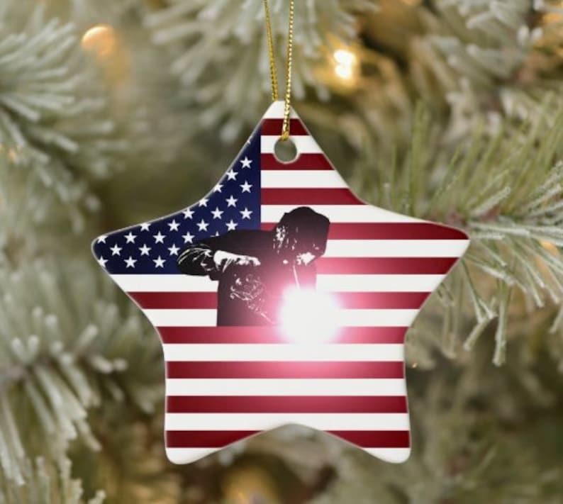 Santa Christmas gifts Welder and American Flag Ceramic Ornament Christmas monogram Funny Gift Holiday Gift