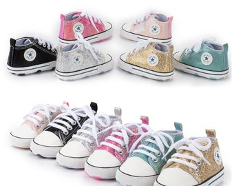 Baby baby Canvas sequin fashion baby sneakers breathable baby shoe fashion