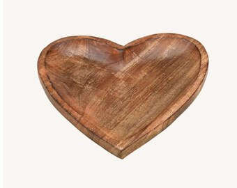 "Plate ""Heart"" made of mango wood"