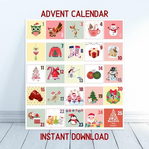 Advent Calendar Printable for Kids Christmas Tags Print and