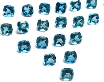 Lot Of Stunning AAA Quality Natural Sky Blue Topaz 8x8 MM Cushion Rose Cut Loose Gemstone