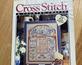Cross Stitch And Country Crafts Vintage Cross Stitch Pattern Magazine MarchApril 1990