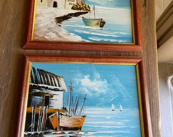 Vintage oil boat paintings