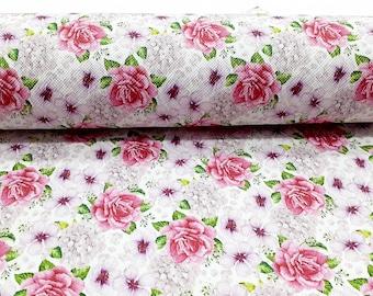 Flowers Chain geometrical geometry Print 100/% Cotton Poplin Crafting Cotton Dressmaking- Fabric