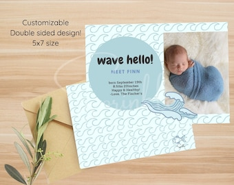 Waves Birth Announcement Sign Personalized Baby Name Reveal Hospital Pregnancy Announcement Newborn Photo Prop Nautical Baby Shower Gift