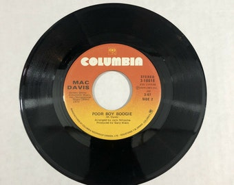 Mac Davis - Stop And Smell The Roses / Poor Boy Boogie 3-10018 VG 45rpm 3D