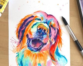 Rainbow Pet Portrait! Custom Dog Gift, Custom Dog Portrait, Dog Mom, Custom Pet Portrait Pet Loss Gift
