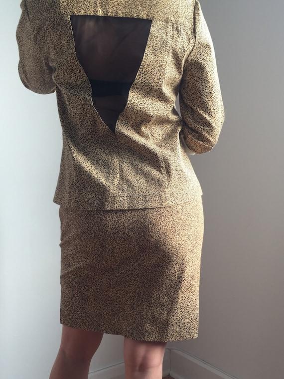 Vintage Simon Chang Leopard Skirt Suit Set, Small