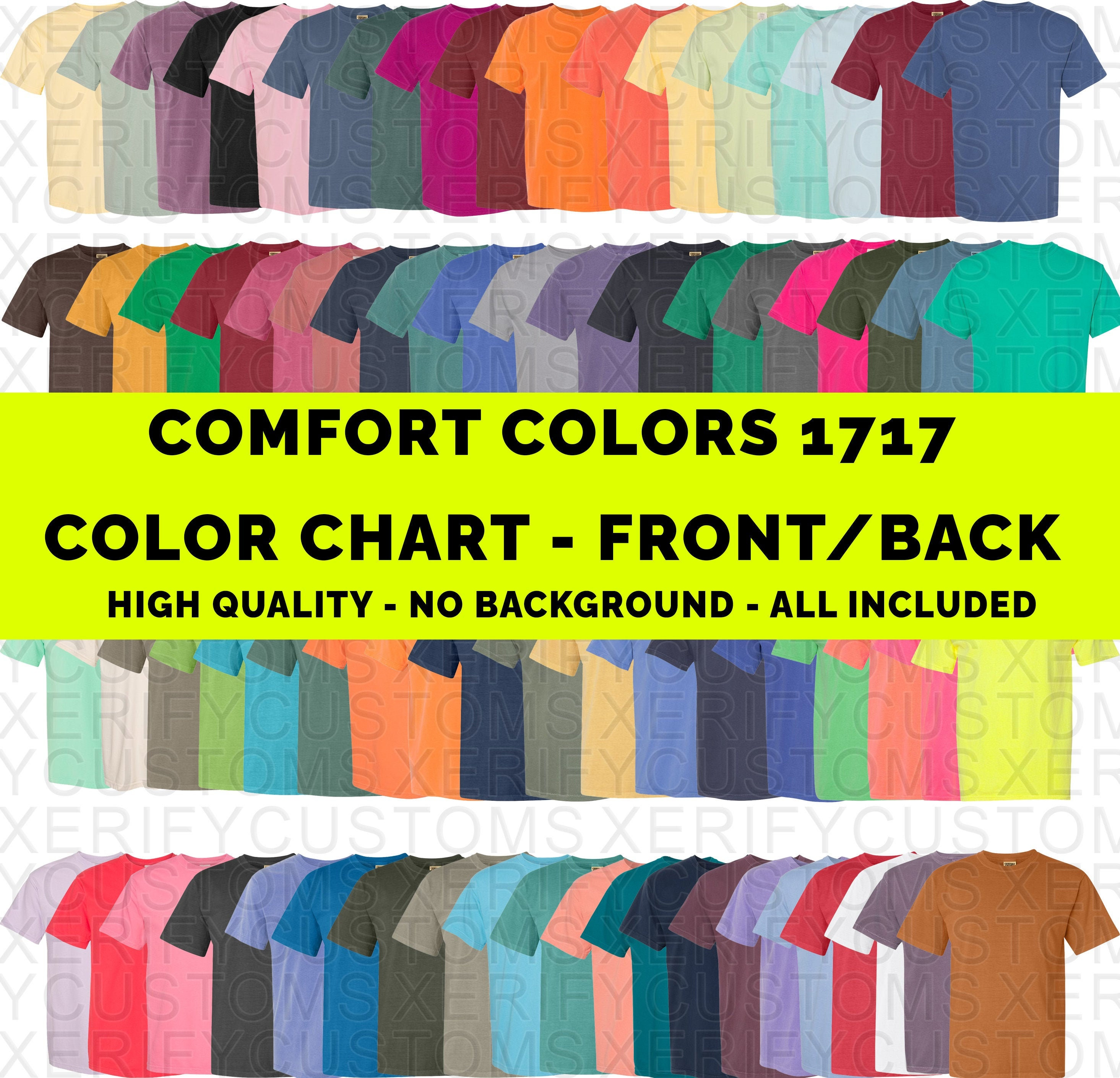 Comfort Colors 20 color chart mock up Front AND Back   Digital   Instant  download   Color guide PNG high quality HD no background