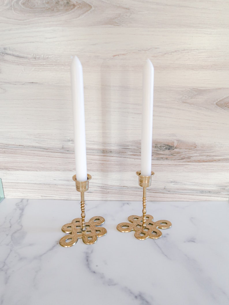 Vintage Brass Candlestick Holders with Floral Etching