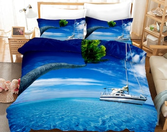 Nautical Boat Standing Against The Wall Other Aquatic Objects Sea Featured Picture Bedding Set 3PCS Duvet Cover Pillowcase