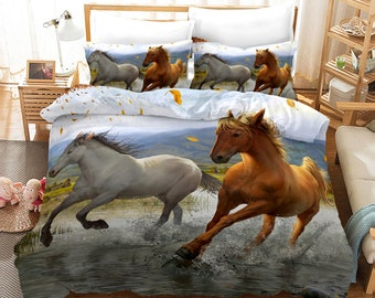 Luxury 3D Effect White Horse Duvet Cover with Matching Pillow Case Bedding Set
