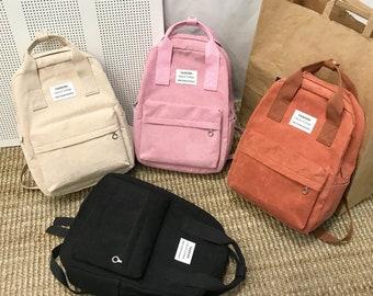 Corduroy Fashion Bag, Backpack with Pockets