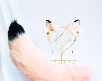 Pink Kitsun Ear With Bows, Cat ears, cosplay cat ears,  Pet play, Fairy Ears, Cute Ears,  fake ears, kitten ears, realistic cat ear, 269