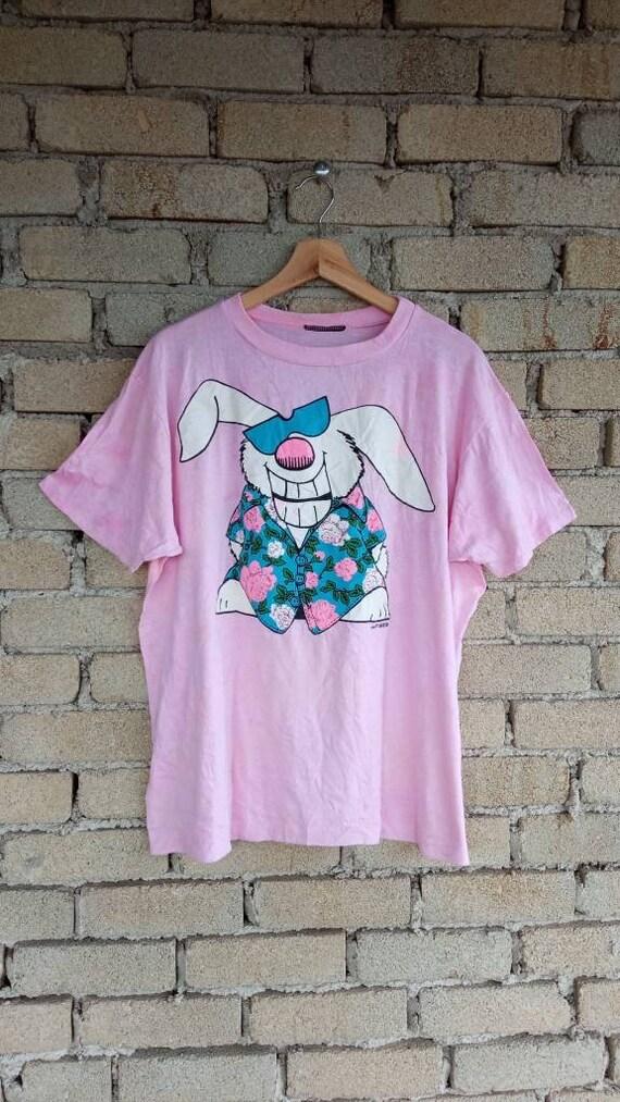 Vintage 80s Oasis Rabbit Floral T-shirt