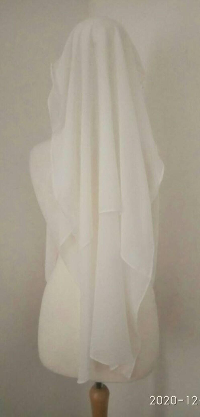 Multi long layered white chiffon niqab