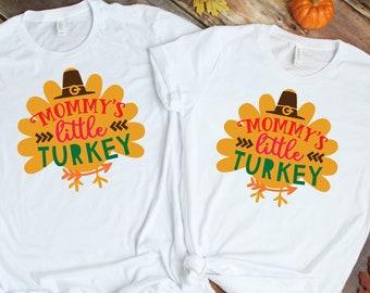 Mommy's little Turkey Matching Shirts, Thanksgiving Family Matching Shirts, Personalized Thanksgiving Family Tee, Family Shirt, Thanksgiving