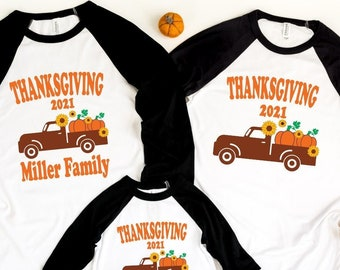 Thanksgiving Family Matching Shirts, Personalized Thanksgiving Family Raglan,Family matching Shirt, Thanksgiving 2021, Family Thanksgiving