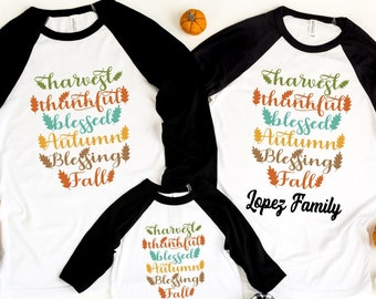 Thankful Blessed Matching Raglan, Personalized Thanksgiving Family Raglan, Family matching Shirt, Thanksgiving 2021, Family Thanksgiving Tee