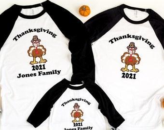 Thanksgiving Turkey Matching Raglan, Personalized Thanksgiving Family Raglan, Family matching Shirt, Thanksgiving 2021, Family Thanksgiving