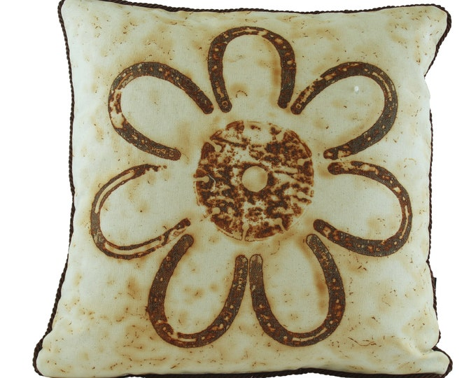 """Fabric Pony Size Horse Shoes  Rusted Pillow Cover  16""""x 16"""" Canvas Fabric with Chocolate Trim"""