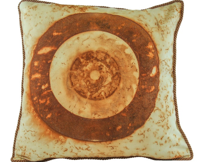 """Rusted Brake Disc  Rusted Pillow Cover  16""""x 16"""" Cotton Sateen Fabric with Chocolate Trim"""