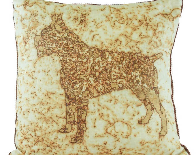 """Boxer Dog  Rusted Pillow Cover  On Linen Fabric 16""""x 16"""""""