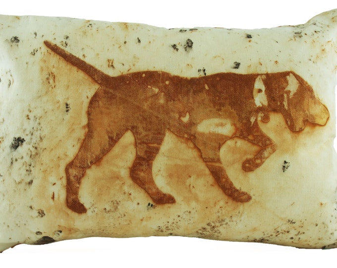 """Pointer Bird Dog Rusted Pillow Cover Cotton Sateen  Fabric 12""""x 18"""""""