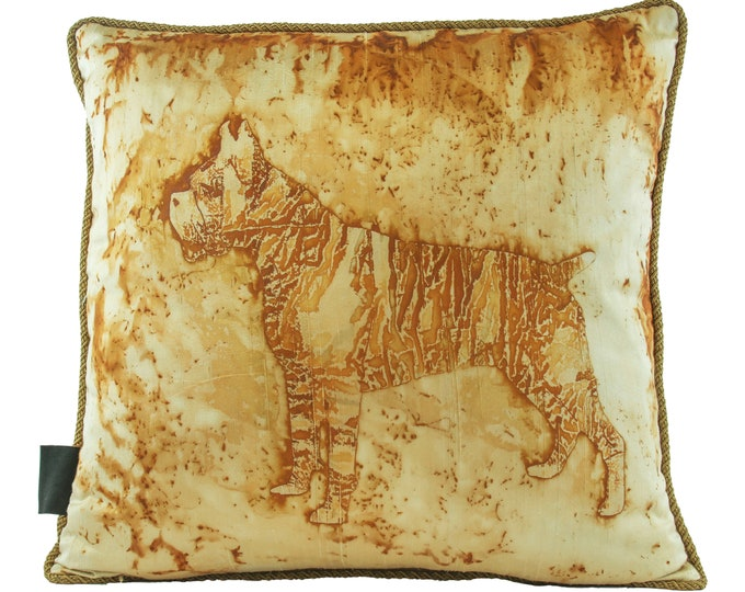 """Boxer Dog Silk Rusted Pillow Cover  On Silk Fabric 18""""x 18"""""""