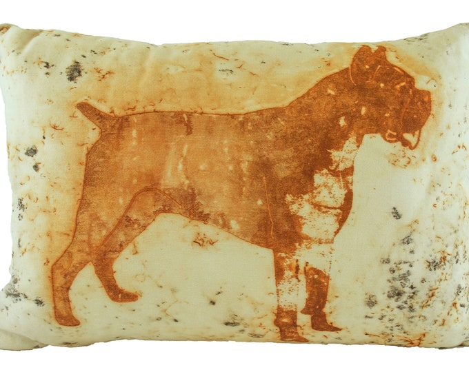 """Boxer Dog  Rusted Pillow Cover  On Cotton Sateen Fabric 12""""x 16"""""""