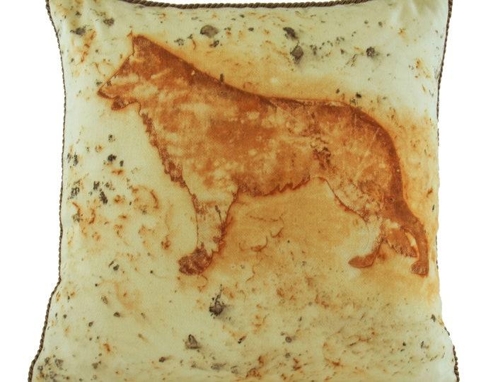 "German Shepherd  Rusted Pillow Cover  Cotton Sateen Fabric 15""x 15"""