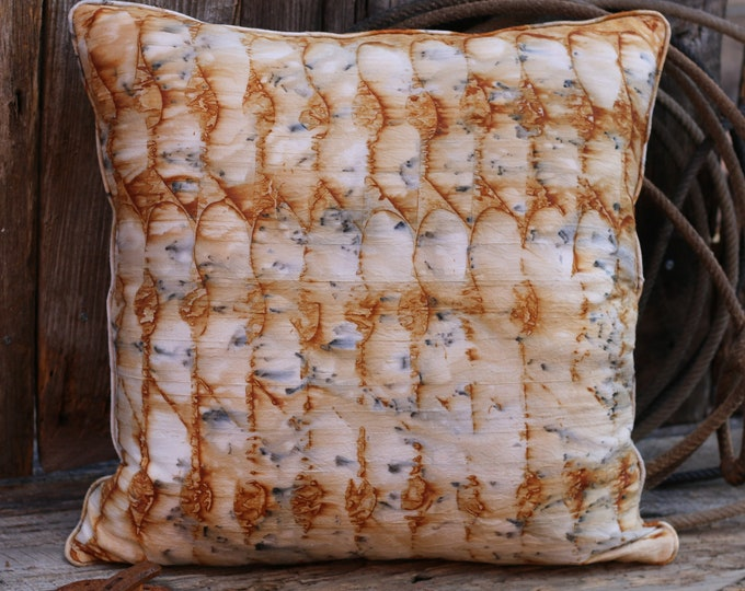 """Unique Silk Rusted Art  Pillow Cover  - 18""""x 18"""" Silk Fabric Pillow with Rusted Silk Welt Cord Trim"""