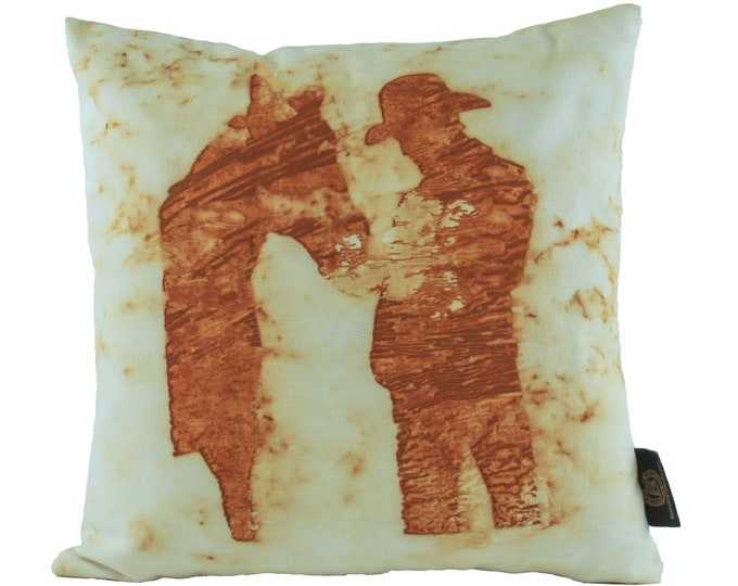 """Cowboy and Horse  Rusted Pillow Cover  16""""x 16"""" Organic Canvas"""