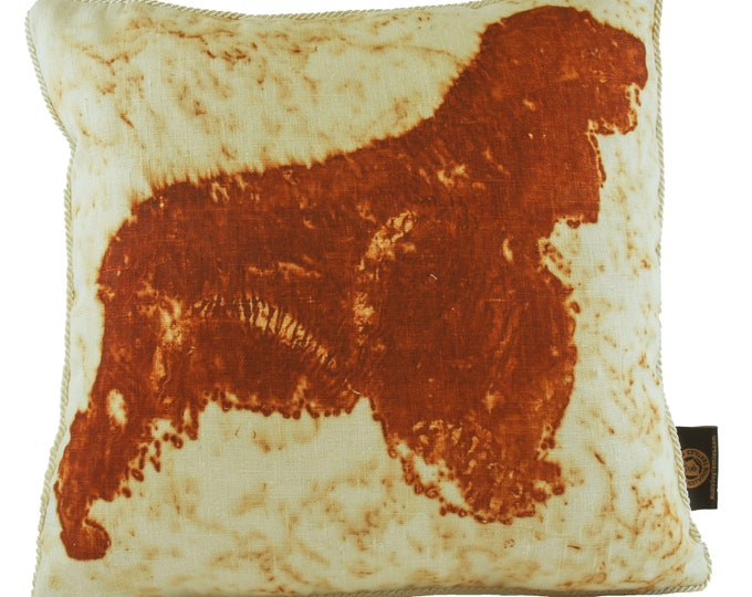 """English Cocker Spaniel Rusted Pillow Cover Organic Canvas Fabric 16""""x 16"""""""