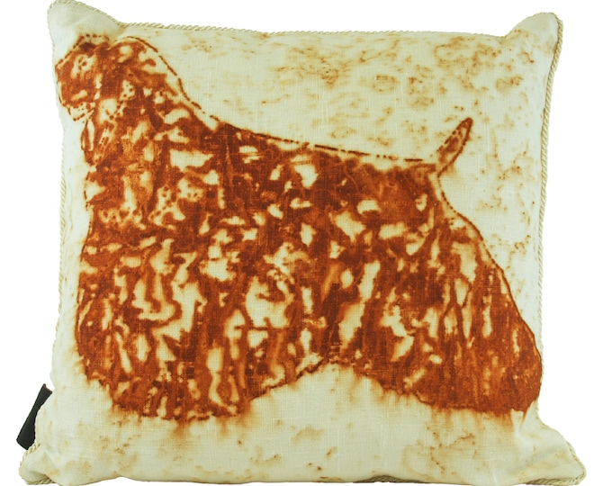 """Cocker Spaniel Dog  Rusted Pillow Cover  On Linen Fabric 18""""x 18"""""""