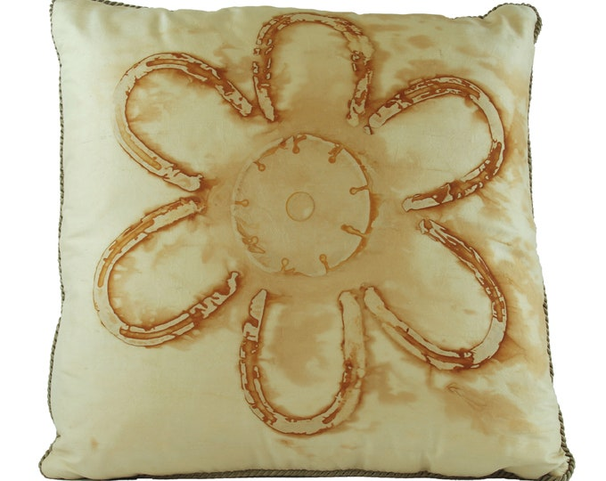 """Rusted Pony  Shoes on Silk Fabric  Pillow Cover  18""""x 18"""" Silk Fabric with Antique Gold Trim"""