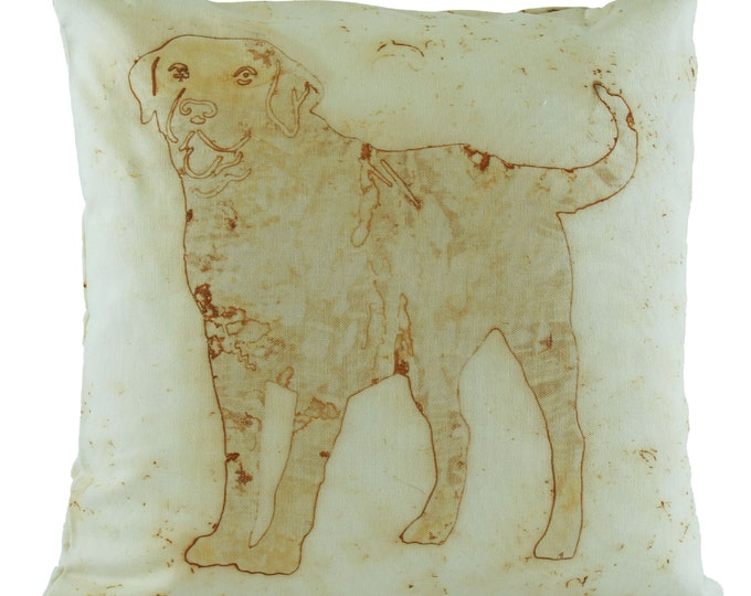 "Labrador Rusted Pillow Cover  Cotton Sateen Fabric 18""x 18"""