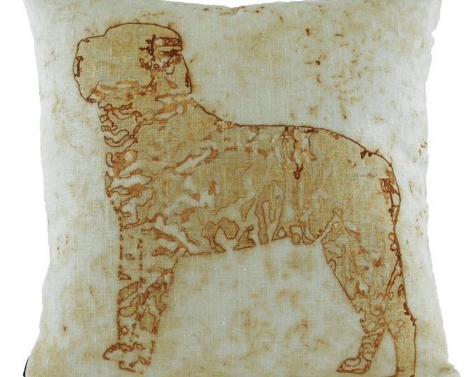 """Mastiff Rusted Pillow Cover Linen Fabric 16""""x 16"""""""