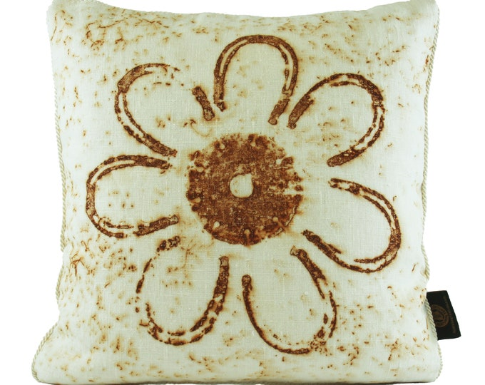 """Rusted Pony Shoes Pillow Cover   - 16""""x 16"""" Linen Fabric with Cream Trim"""